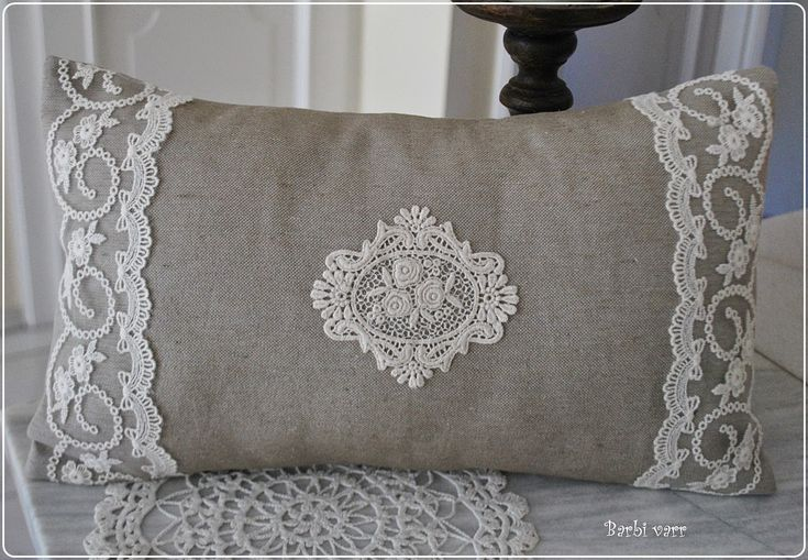 Vintage burlap pillow with lace