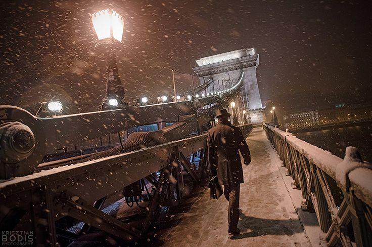 Budapesti Lánchíd hóesésben