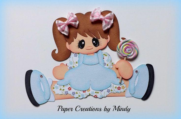 ELITE4U lollipop girl kid summer premade paper piecing scrapbooking page lt blue