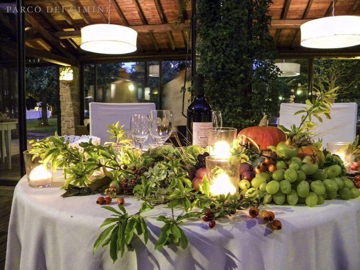 Allestimento autunnale tavolo sposi