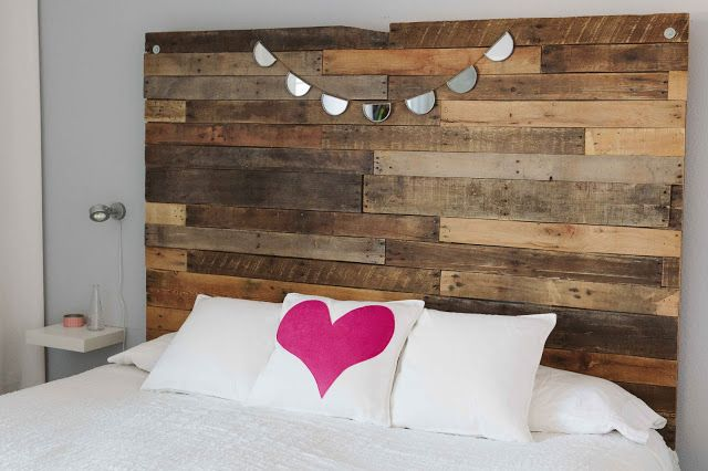 Love this reclaimed timber bedhead and bunting, Website has tutorial for the heart cushion. <3