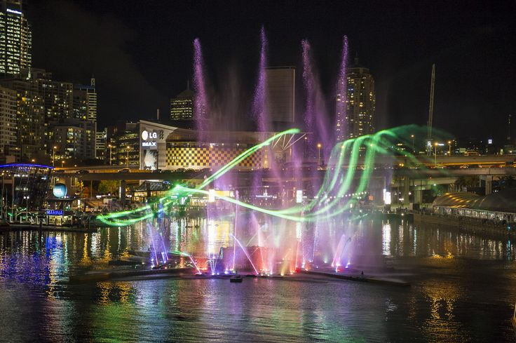 The Vivid Laser-Fountain Water Theatre at Darling Harbour has 20 water jets that reach more than 30 metres in height and 16 flame jets! #vividsydney lights on are at 6pm tonight!