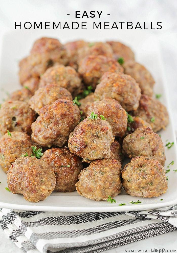 Easy Homemade Meatballs Recipe Recipe Homemade Meatballs Homemade Meatballs Recipe Recipes