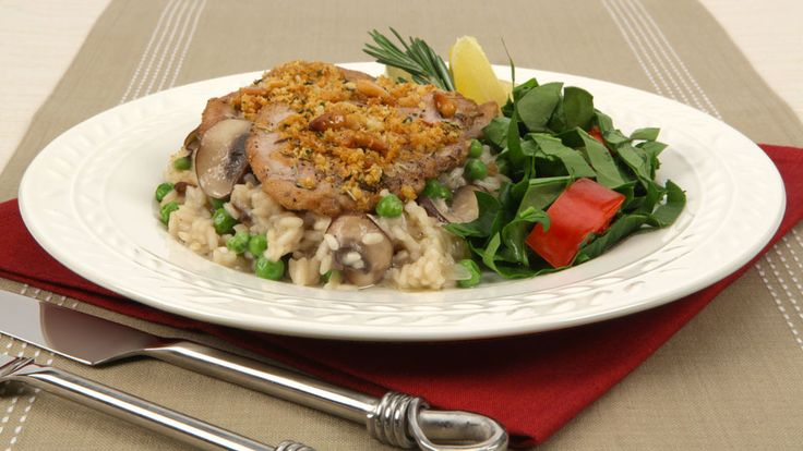Pork Tenderloin Risotto Bake - Recipes - Best Recipes Ever - Medallions of pork bake on creamy risotto. This risotto method cuts both the usual cooking and stirring times.