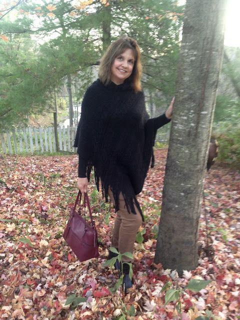Black Poncho with Brown Pants | Amy's Creative Pursuits