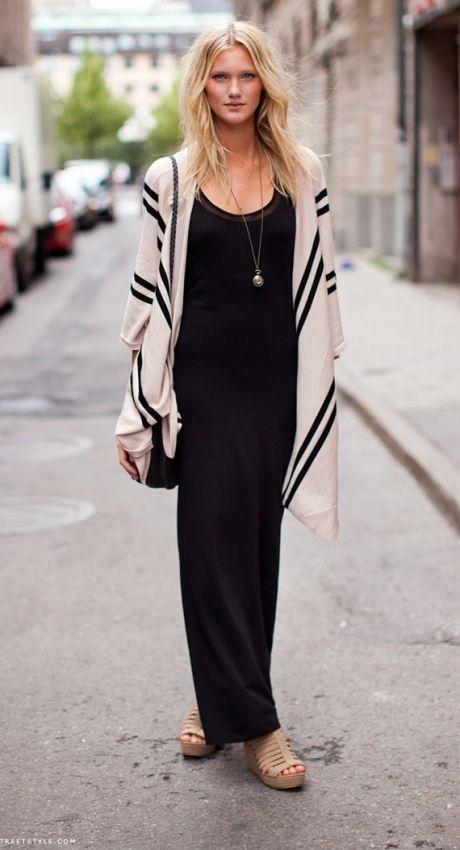Bohemian. Long black & white cardigan, black maxi dress, use kimono cardigan over black maxi.