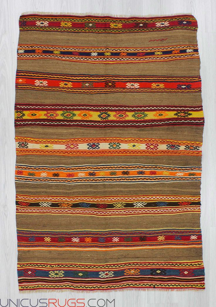 """Vintage striped kilim rug from Fethiye region of Turkey.In good condition.Approximately 45-55 years old Width: 3' 10"""" - Length: 5' 7"""" Striped Kilims"""