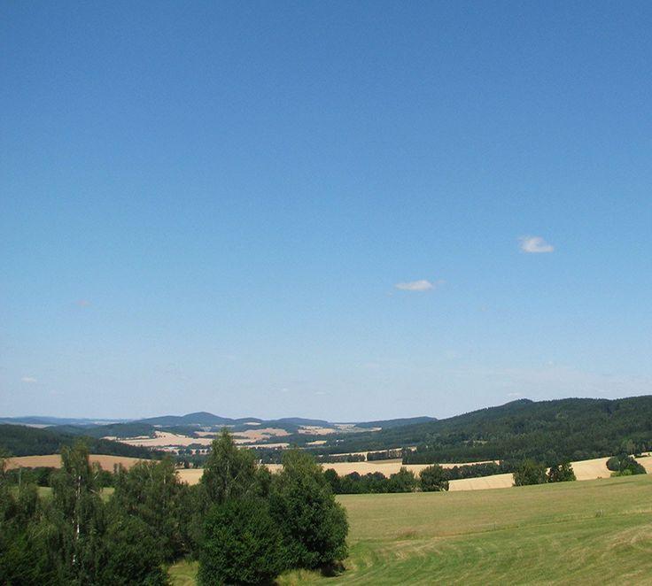 Blaník hills from south, Czechia - Blaník hills (Velký & Malý Blaník) in  and Podblanicko region in Central Bohemia from the south - Mladá Vožice region (South Bohemia), Czechia