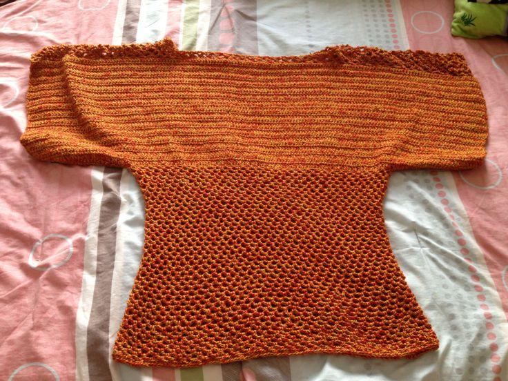 Bluza en crochet naranja