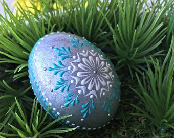 Baby Boy Easter Egg, Easter Egg, Blue and Silver Pysanka, My First Easter, Eggshell Art, Chicken, Wax Embossed Pysanka, Drop Pull Pysanky