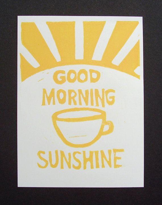 Typography Linocut Print Good Morning Sunshine Kitchen Art Coffee