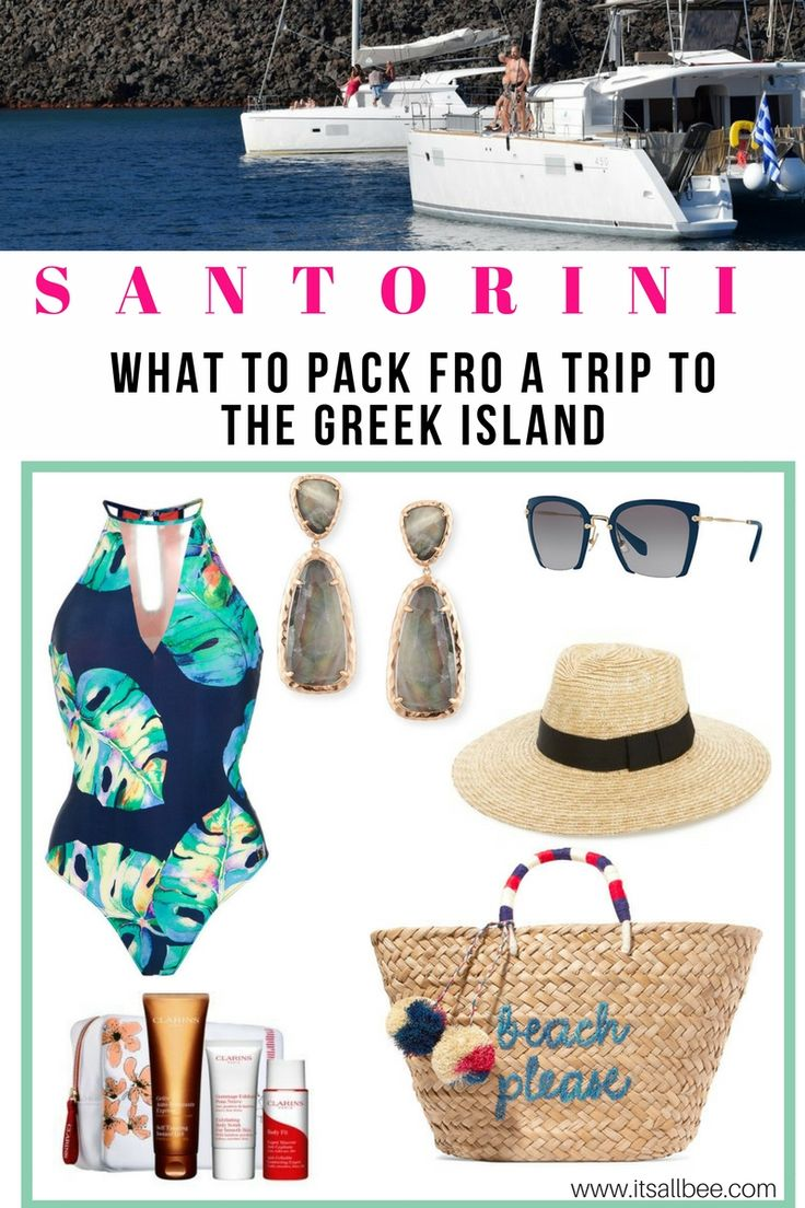 What to pack for Santorini, Greece  - Packing Light List.    #ootd #outfits #vacationguide #travel #style #whatiwore #swimwear