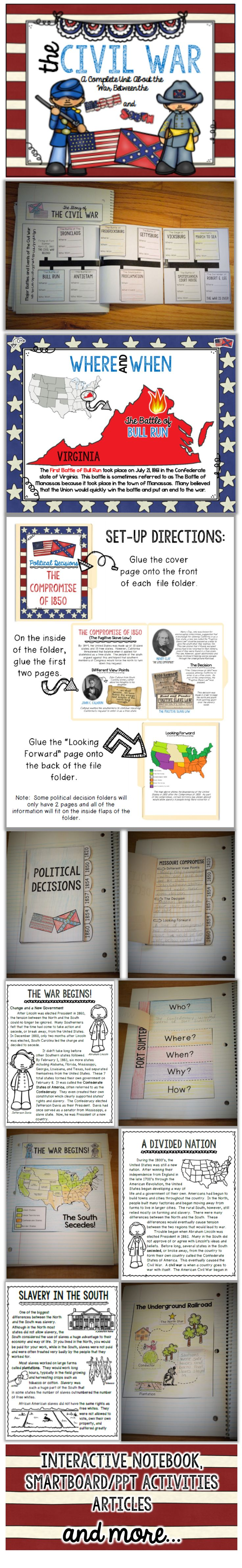Teach your kids all about the Civil War with a complete unit ready to go!  Interactive notebook pages, learning centers, SB/PPT activities, games and MORE! $
