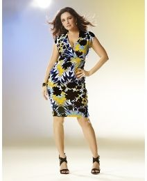 """Kelly Brook"" Kelly Brook Print Jersey Wrap Dress at Simply Be"