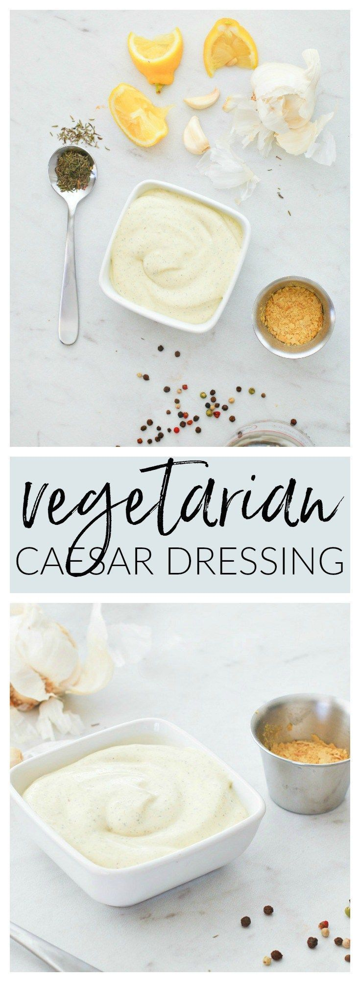 Healthy Homemade Vegetarian Caesar Dressing replaces the usual anchovies and parmesan with vegetarian-friendly ingredients for a smooth and creamy guilt-free dressing or dip | Killing Thyme #homemade #caesardressing #caesarsalad #saladdressing #healthyrecipes #condiments #capers #nutritionalyeast #vegetarian #vegetarianrecipes