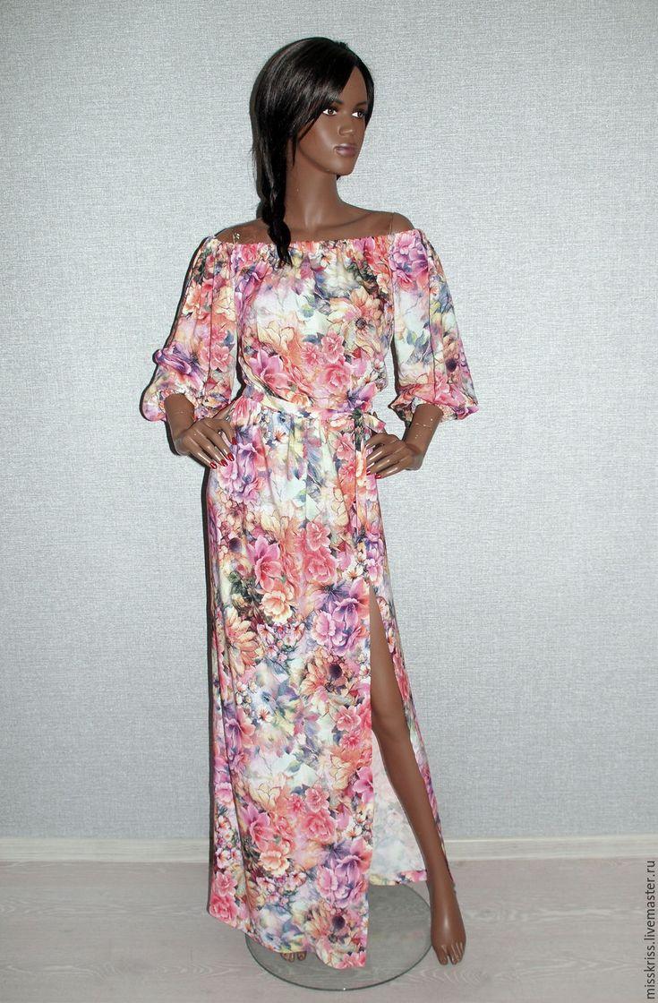 Платье   из хлопка с высоким  разрезом - Kristina Ayupina - Ярмарка Мастеров