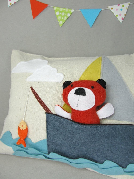 Playful Pillow with Bear in the Boat by violastudio on Etsy, $49.00