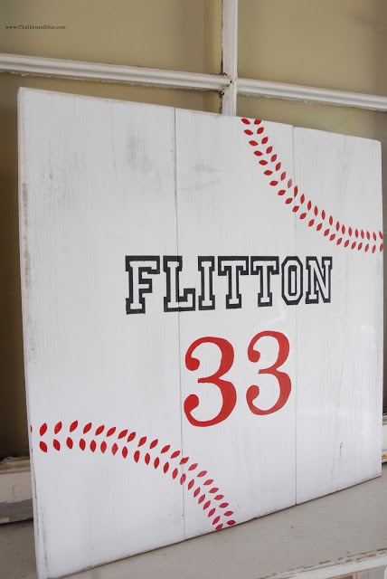 {baseball board sign with chalkboard blue} I so want to do this for all 3 of my boys!! Love it~