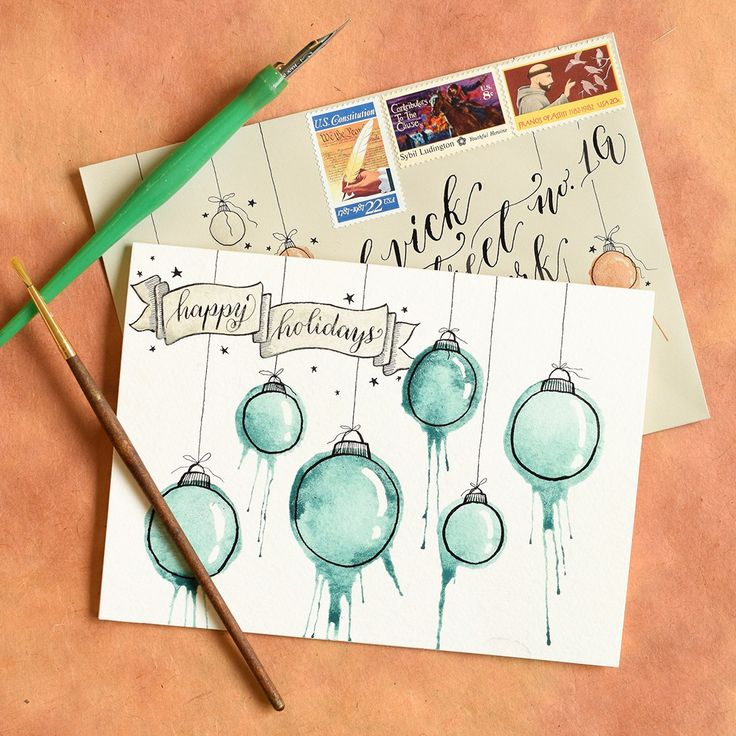 DIY Holiday Card + Artistic Envelope Tutorial