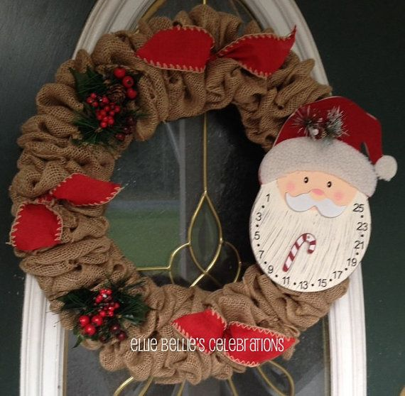 Christmas Countdown Santa Burlap Wreath by EllieBelliesSigns