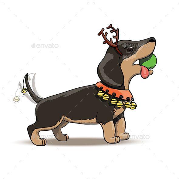New Year Cartoon Dachshund Puppy Santa Deer Dachshund Puppy New