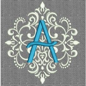 Elegant Damask Monogram Alphabet Machine Embroidery Designs by JuJu