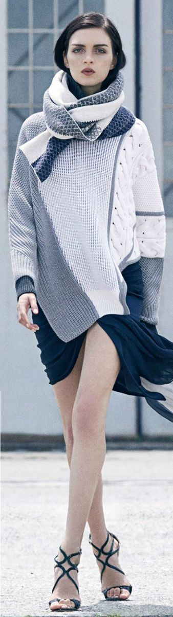 The gray, cream combination make this sweater so versatile.   Prabal Gurung ● Mixed Intarsia Sweater