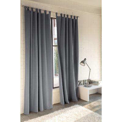 rideau pattes microfibre aspect peau de p che uni 100 polyester gris anthracite vue 1. Black Bedroom Furniture Sets. Home Design Ideas
