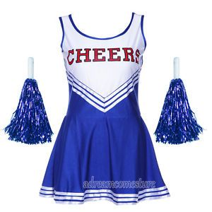 High School Cheer Girl Uniform Cheerleader Fancy Dress Costume Outfit w/ Pompoms