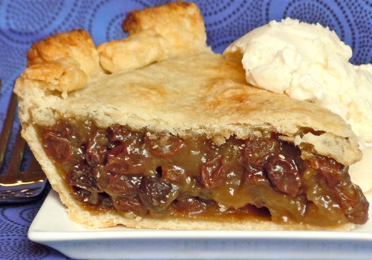 Ingredients    4 C. water  4 C. raisins  1 C. light brown sugar  5 T. cornstarch  1/2 tsp. cinnamon  1/2 tsp. salt  2 tsp. lemon juice  3 T. butter (not margarine)  1 tsp. vanilla extract  2, 9″ deep dish pie shells    Directions    Combine raisins and water in a
