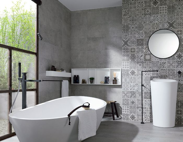 Bathroom tile| PORCELANOSA USA. This tiles properties allow it be used on exteriors, facades and commercial areas, as well as residential, without lacking in beautiful and innovative design. Get it in Salem at Cherry City Interiors and Design