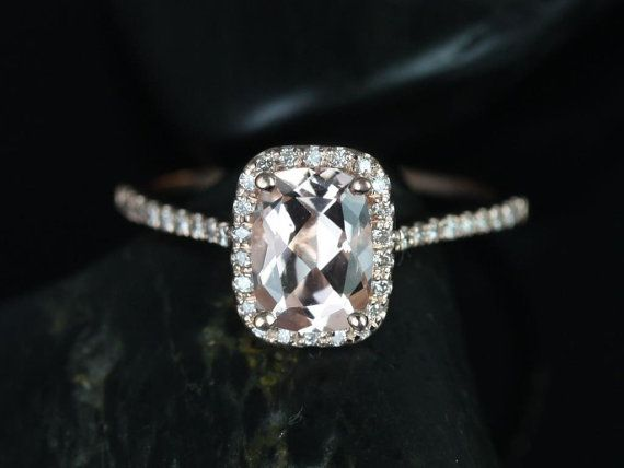 Carrie 8x6mm 14kt Rose Gold Rectangle Cushion Halo Morganite and Diamond Engagement Ring (Other Center Stone Available Upon Request)