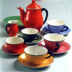 Gefles kaffeservis K-modellen/Emaljfond. Formgiven av Percy 1927.