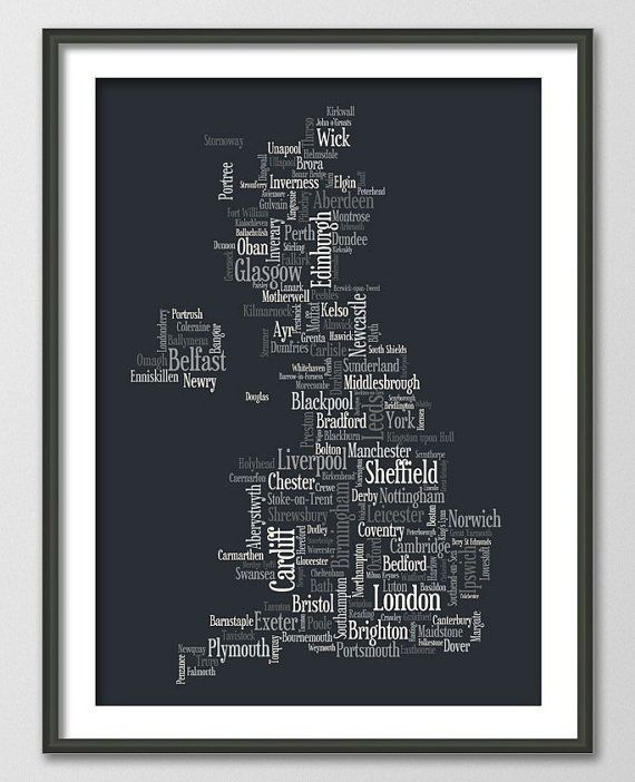 Great Britain UK City Typographic Text Map Art Print by artPause, £14.99