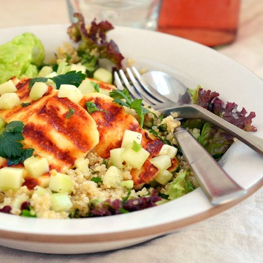 It's a little early in the season to fire up the grill, but if you have a grill pan, a panini press, or even just a skillet, any time is a good time to sear some halloumi and make this vegetarian main-dish salad.