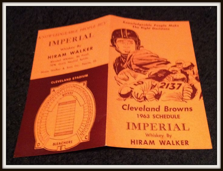 1963 CLEVELAND BROWNS HIRAM WALKER IMPERIAL FOOTBALL POCKET SCHEDULE FREE SHIP #Pocket #SCHEDULE