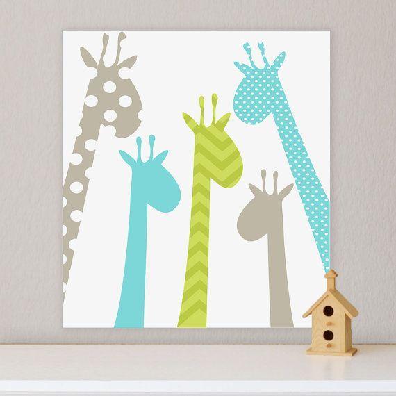 Giraffe Children's Wall Art Nursery Wall canvas 20x24 by FieldandFlower, $60.00