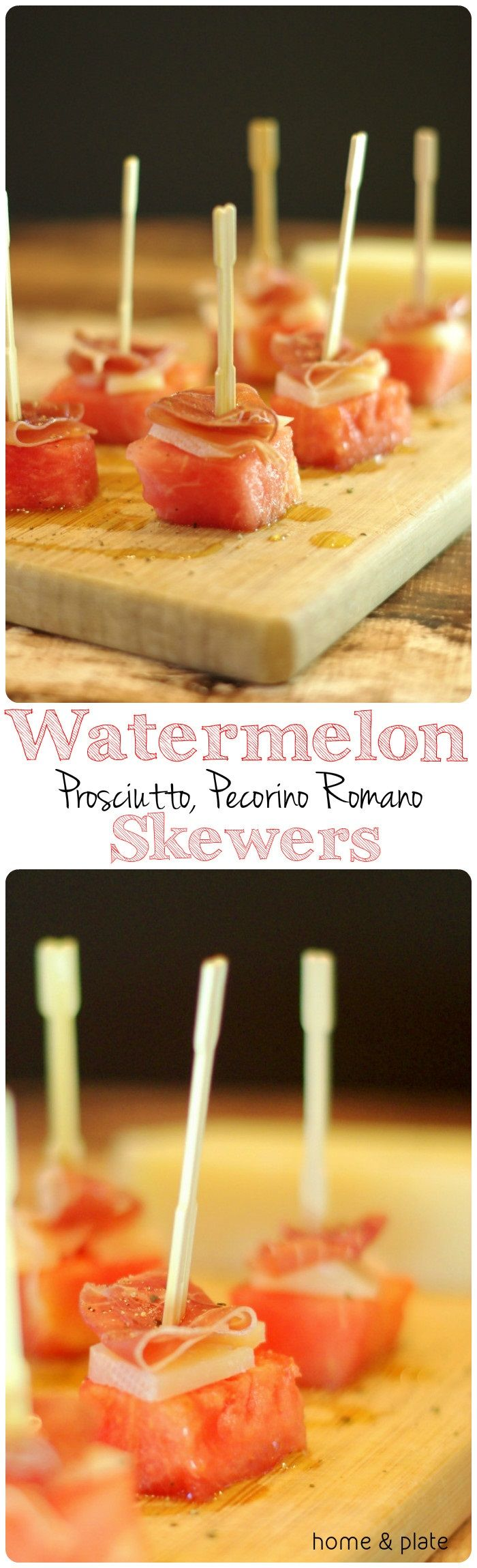 Watermelon, Prosciutto & Pecorino Romano Skewers | Home & Plate | www.homeandplate.com |  Salty and sweet go perfectly together and so does this appetizer that celebrates the sweetness of summer.