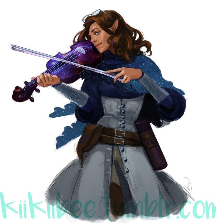 rakugaki - commission of a half-elf Bard named Ellashan for...