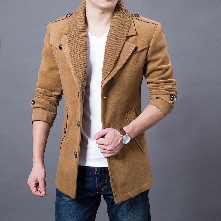 2017 Business Men Casual Warm Coats Size M-3XL Good Quality Single Breasted Desi