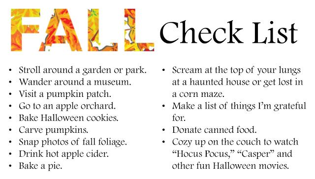 Fall bucket list: Activities include apple picking, baking a pie and visiting a haunted house!