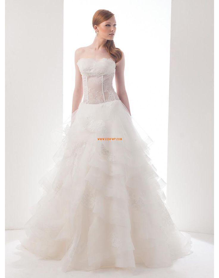 Pánt nélküli Organza  Ujjatlan Menyasszonyi ruhák 2015