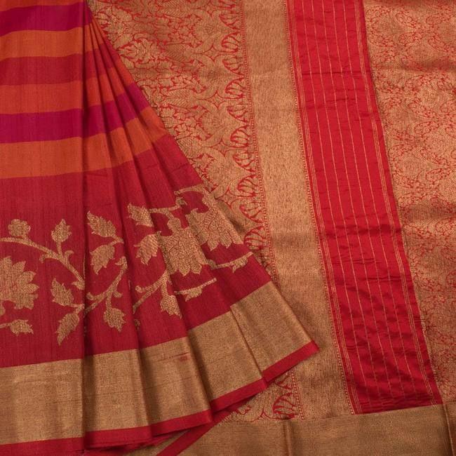 Handwoven Banarasi Kadhwa Tussar Silk Saree With Stripes & Floral Butis 10033257... 7