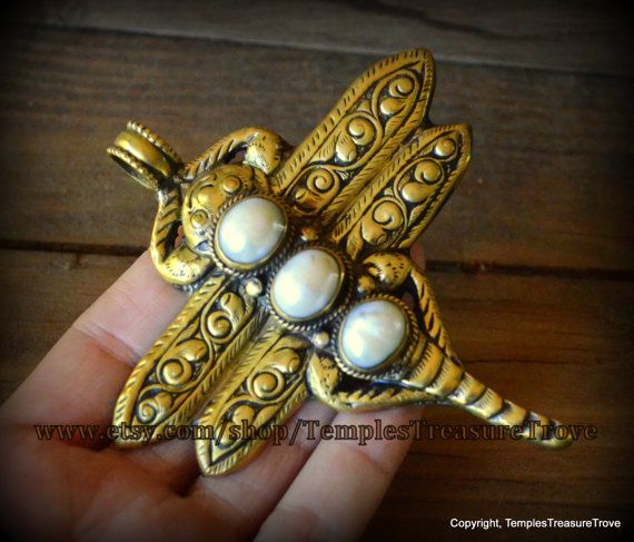 Art Nouveau-esque Brass Repousse Triple Pearl Dragonfly Totem Nepalese Focal Bead Fair Trade beading supply