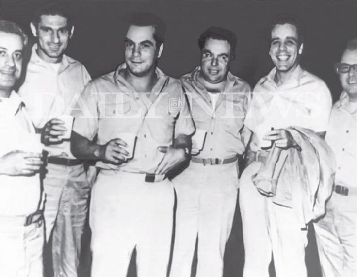 """This photo featured in the John (Junior) Gotti book """"Shadow of My Father"""" pictures (l. to r.) unknown, Frankie DeCicco, John Gotti, Angelo Ruggiero, unknown and unknown at Lewisburg Federal Penitentiary in 1969."""