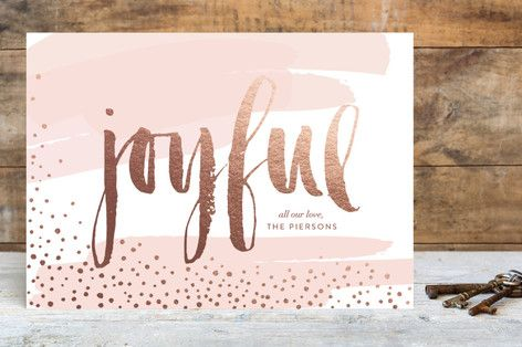 Rose Gold foiled and pink Joyful christmas card from minted. Holiday Cards and a Giveaway from Minted — Weekend Craft