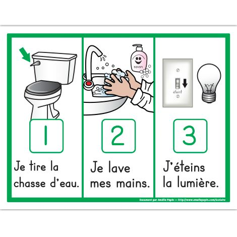 Fichiers PDF téléchargeables Versions en couleurs et en noir et blanc 1 page  Voici 3 étapes illustrées de la routine de la toilette: Je tire la chasse d'eau, je lave mes mains et j'éteins la lumière.