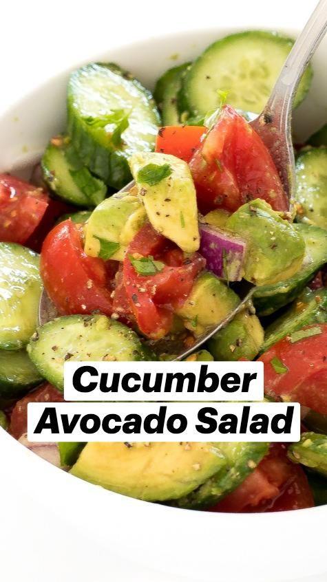 Cucumber Avocado Salad, Avocado Salad Recipes, Best Salad Recipes, Lunch Recipes, Vegetarian Recipes, Cooking Recipes, Healthy Recipes, Recipes With Cucumbers, Chicken Avocado Salad