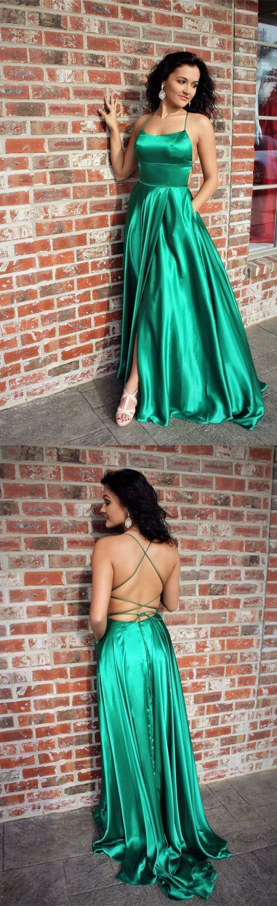 green color prom dress, long prom dress with slit, 2018 prom dress, prom dress with pockets