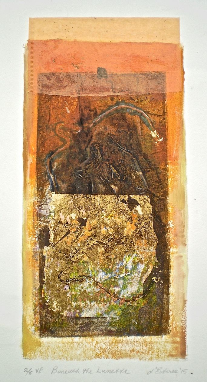 ELAINE d'ESTERRE - Beneath the Lunette, 2/8, V.E. 2015, collagraph and chine-colle by Elaine d'Esterre at HTTP://elainedesterreart.com and http://www.facebook.com/elainedesterreart/ and http://instagram.com/desterreart/